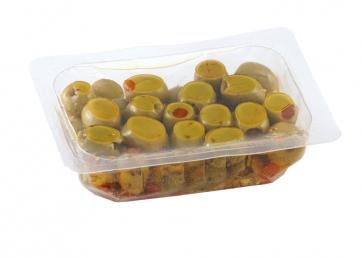 Olive verdi denocciolate in vaschetta